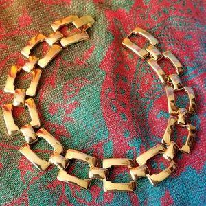 Vintage open square link bracelet gold tone